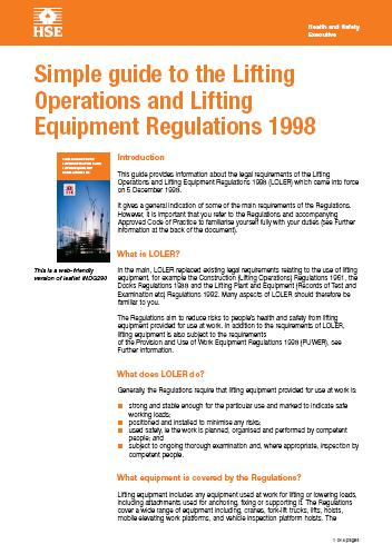 HSE Simple Guide to the Lifting Operations & Lifting Equipment Regulations 1998